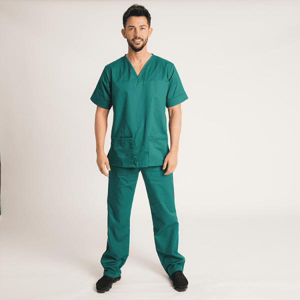 Premium Unisex Scrubs - Bottle Green - Model